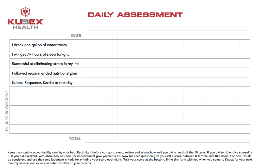 health and fitness goals daily assessment sheet