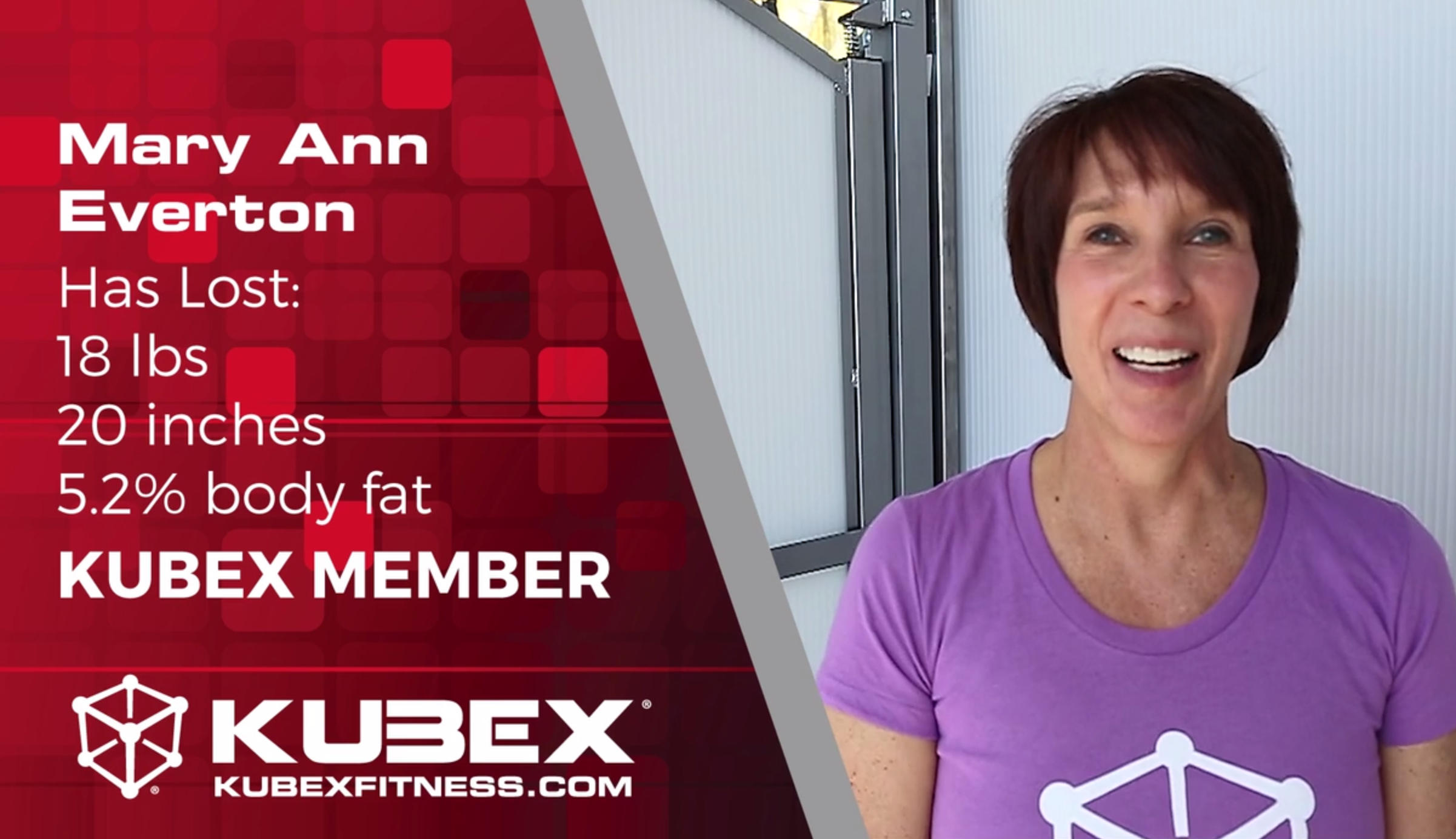 Mary Ann has lost inches, body fat, and weight at kubex gym