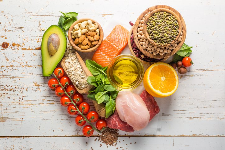 Selection of food that is good for health.