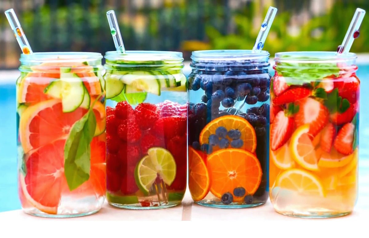 fruit infused water in glass jars